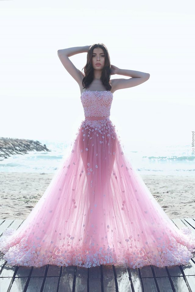 829acf205deb2 Pink Prom Dresses, Flowers Evening Dresses, Beading Party Dresses, Pearls  Prom Dress, New Arrival Evening Gowns, Fashion Evening Dresses, Two Pieces  Prom ...