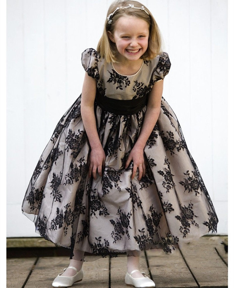 Black Flower Girl Dress Kids Prom Dresses Lace Flower Girl Dresses