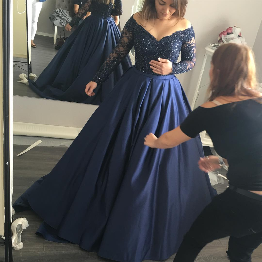 A Line Prom Dress, Navy Blue Prom Dress, Elegant Prom Dress, Vintage Prom  Dress, Floor Length Prom Dress, Lace Prom Dress, Rhinestones Prom Dresses,  ...