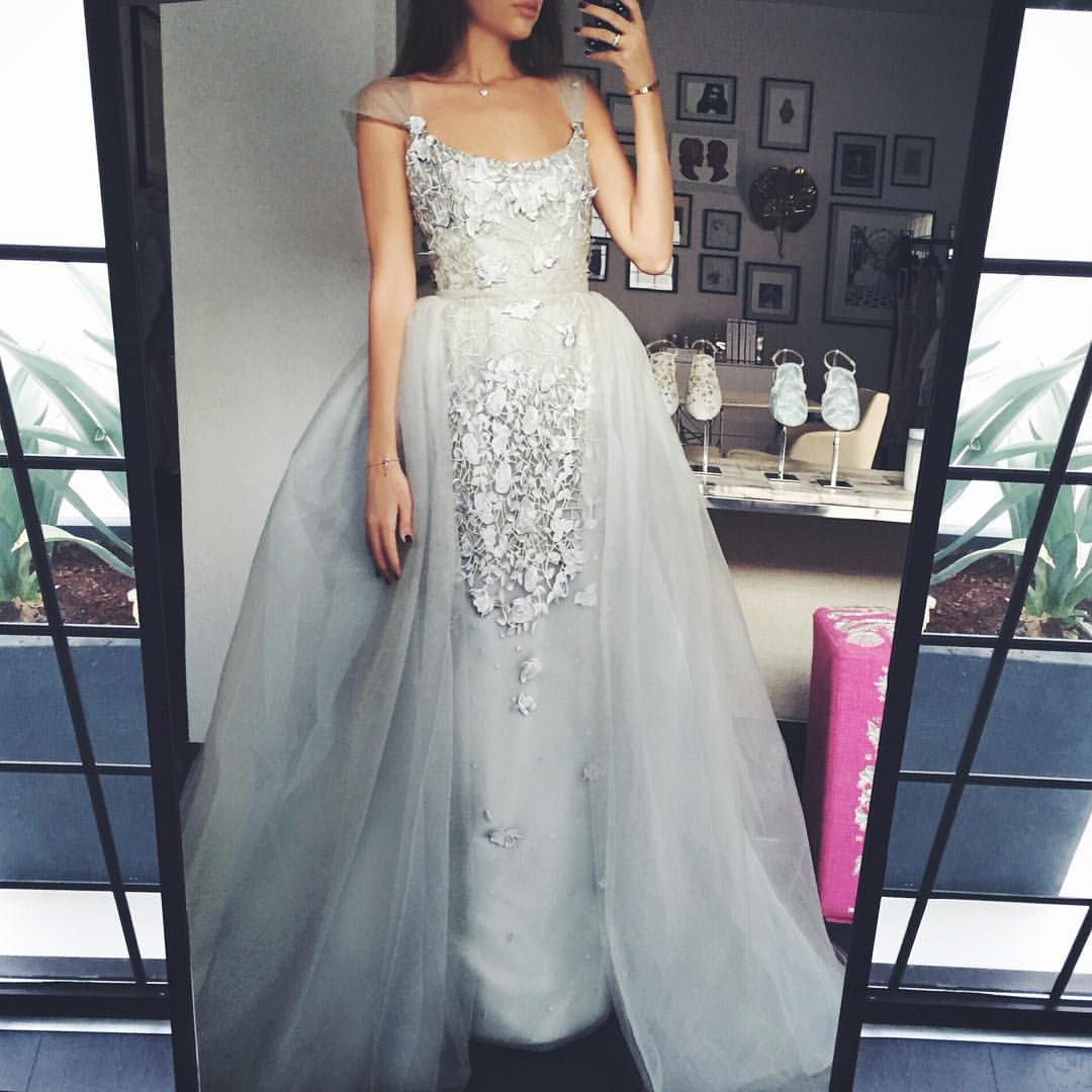 Detachable Skirt Prom Dress, Silver Prom Dress, Cap Sleeve Prom Dress, Elegant Prom Dress, Formal Party Dress, Floor Length Prom Dress, Vestido De Longo, Floral Prom Gowns