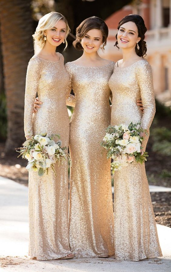 Gold Bridesmaid Dresses, Champagne Bridesmaid