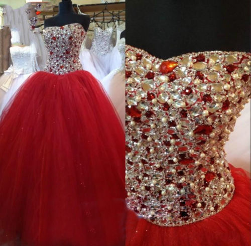 Red Prom Dresses, Rhinestones Prom Dress, Tulle Prom Dress, Luxury Prom Dress, Elegant Prom Dress, Simple Prom Dress, Prom Dresses 2017, Floor Length Prom Dress, Puffy Prom Dress, Custom Make Prom Gown, Prom Ball Gowns