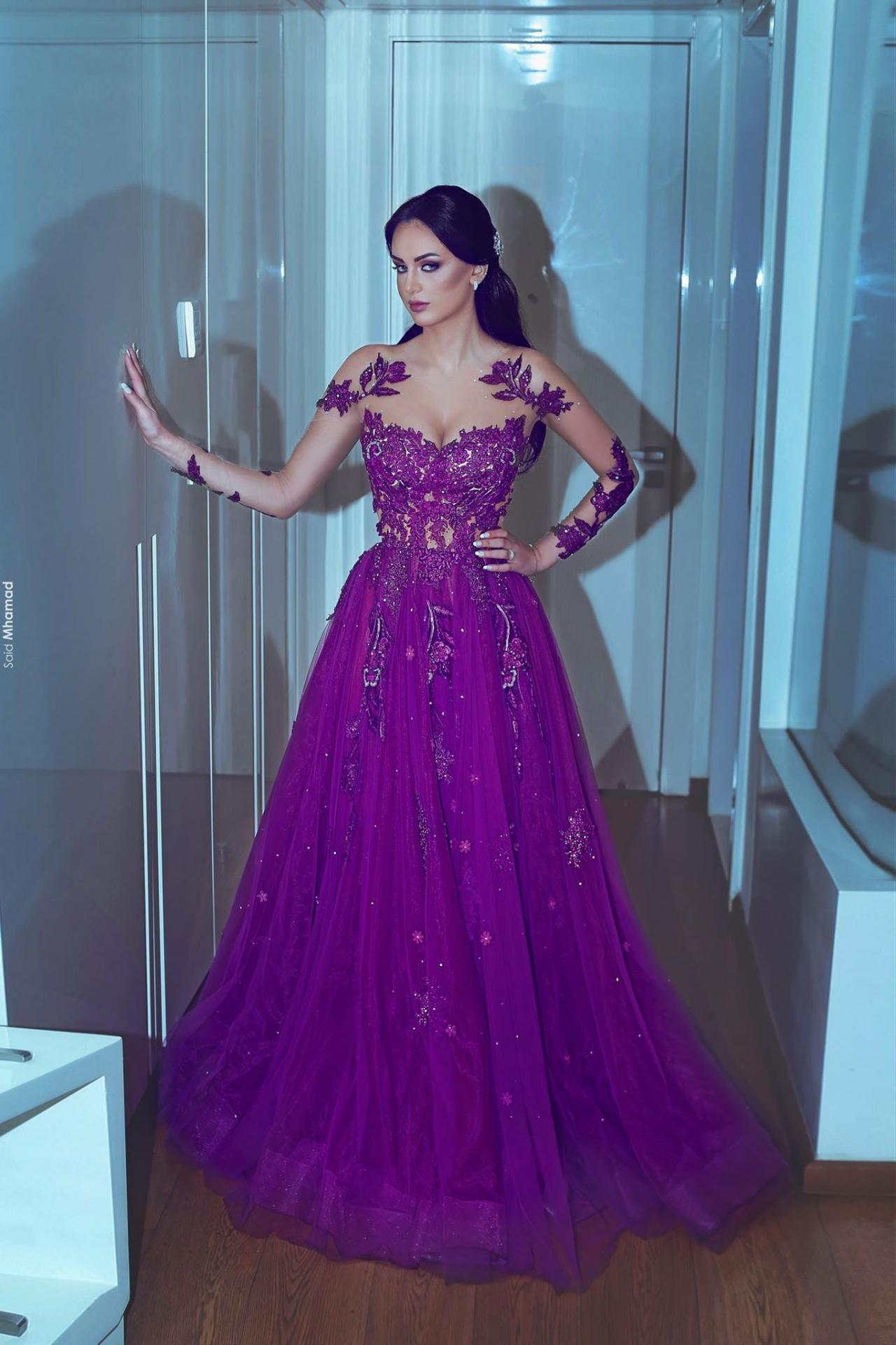 Purple Prom Dresses, Sheer Crew Prom Dresses, Long Sleeve Prom ...