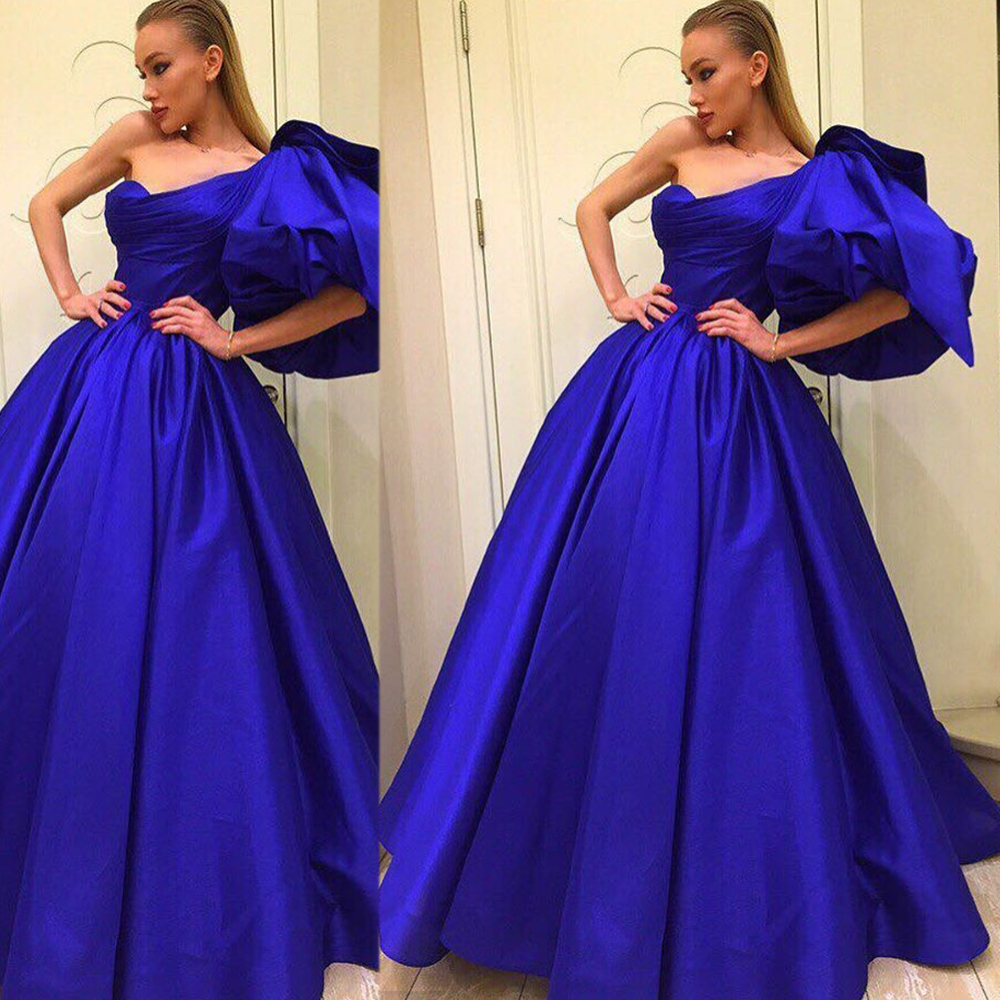 Royal Blue Prom Dresses, One Shoulder Prom Dresses, Pleats Prom Dresses, Ball Gown Prom Dresses, Satin Prom Dresses, Backless Prom Dresses, 2017 Evening Dresses, Floor Length Party Dresses, Long Women Formal Dresses