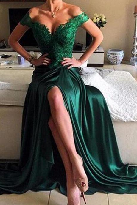 Green Prom Dresses, Off the Shoulder Prom Dresses, Lace Prom Dresses, Backless Prom Dresses, Satin Prom Dresses, Side Slit Prom Dresses, Cheap Prom Dresses, New Arrival Evening Dresses, Sexy Formal Dresses, Arabic Special Occasion Dresses, Satin Evening Gowns, Long Party Dresses