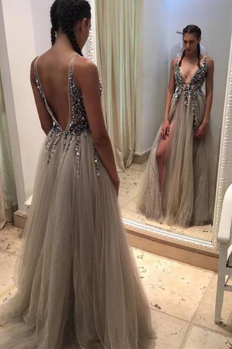 Crystal Prom Dresses, Sliver Prom Dress, Backless Prom Dresses, Beading Prom Dresses, Beaded Prom Dresses, Backless Evening Dresses, Tulle Prom Dresses, Cheap Prom Dresses, Crystal Evening Gowns, Sexy Evening Dress, 2017 Formal Dresses, Special Occasion Dresses, New Arrival Party Dresses