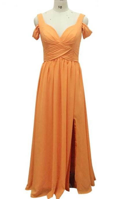 Orange Bridesmaid Dresses, Pleats Prom Dresses, Real Picture Prom Dresses, Off the Shoulder Prom Dresses, Chiffon Bridesmaid Dresses, Long Bridesmaid Dresses, Maid Of Honor Dresses, Orange Bridesmaid Dresses, Cheap Bridesmaid Dresses, Sexy Prom Dresses, Orange Prom Dresses, Cheap Evening Dresses