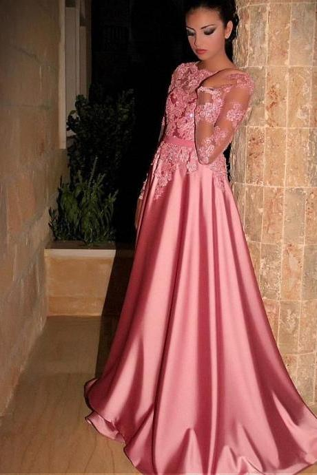 High Neck Prom Dresses, Pink Prom Dresses, Lace Prom Dress, Arabic Prom Dresses, Pink Evening Dresses, Cheap Evening Gowns, Sexy Evening Dresses, New Arrival Party Dresses, Satin Special Occasion Dresses, Custom Make Evening Gowns, Arabic Formal Party Dresses, 2017 Pink Girl Party Dresses