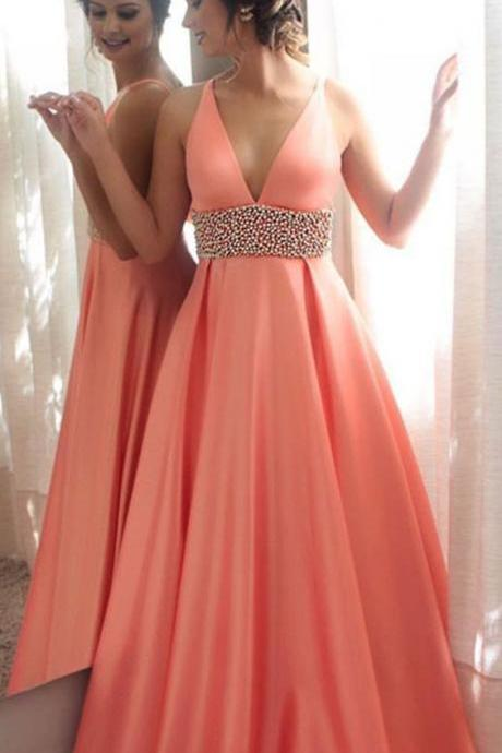 Coral Prom Dresses, Pearls Prom Dresses, Deep V Neck Prom Dresses, A Line Prom Dresses, Coral Evening Dresses, Arabic Prom Dresses, 2017 Special Occasion Dresses, Cheap Evening Gowns, Sexy Evening Dresses, Satin Party Dresses, 2017 Formal Dresses, Custom Make Evening Dresses, Coral Evening Gowns, 2017 Formal Dresses, New Arrival Evening Dress
