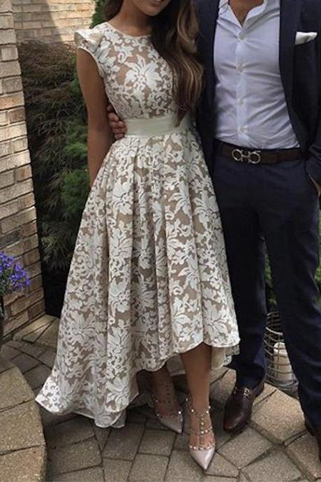 High Front and Low Back Prom Dresses, Lace Prom Dresses, Crew Neckline Prom Dresses, White Prom Dresses, Lace Evening Dresses, 2017 Evening Gowns, High Low Evening Dress, Fashion Prom Dress, New Arrival Party Dresses, Arabic Women Party Dresses, Cheap Formal Dresses, Arabic Evening Gowns, Vestidos de Fiesta