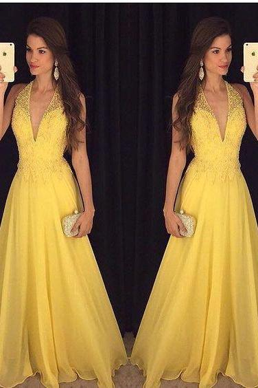 V Neck Sexy Prom Dresses, Pearls Evening Dresses, Chiffon Party Dresses, Arabic Evening Gowns, Yellow Formal Evening Dresses, Lace Party Dresses, Pearls Prom Dresses, New Arrival Evening Dress, Long Prom Dresses, Cheap Summer Women Dresses