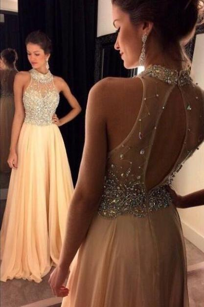 high neck prom dresses, peach prom dresses, crystal evening dresses, a line evening dresses, chiffon evening dresses, newest evening gowns, a line evening gowns, fashion evening dress, elegant prom dress, pearls evening dress, arabic evening dress, crystal evening gowns,2017 evening gowns, 2017 prom dresses, party dresses for women, peach prom dresses,bling bling evening dresses