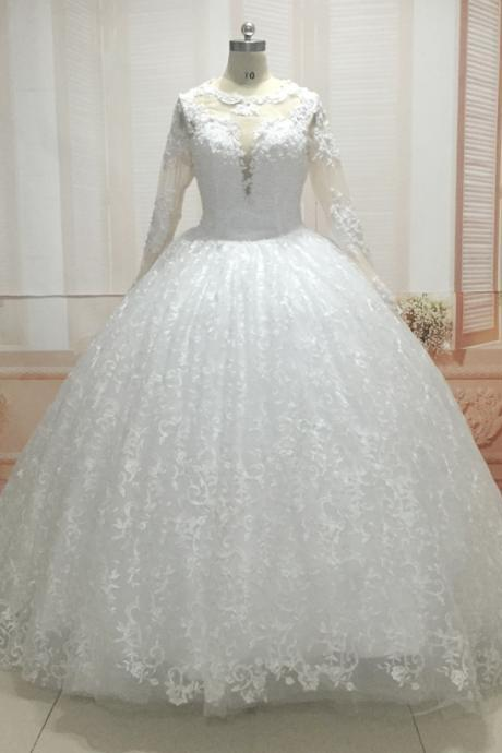 Ball Gown Wedding Dresses, Lace Bridal Dresses, Real Picture Wedding Dresses, Custom Make Bridal Dresses, Actual Image Wedding Dresses, Real Photo Wedding Dresses, Sheer Back Wedding Dresses, Lace Wedding Dresses, Ball Gown Bridal Dresses, Puffy Wedding Dresses, Vestidos de Noiva, Vintage Wedding Dresses, 2017 Elegant Wedding Dress