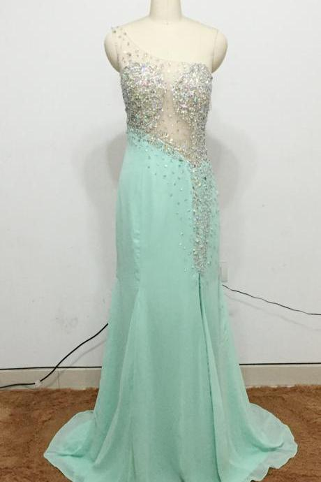 Real Photo Prom Dress, Mint Green Prom Dress, One Shoulder Prom Dress, Crystal Prom Dresses, Mermaid Prom Dresses, Sheer Bodice Prom Dresses, Asymmetrical Prom Dresses, Vestidos de Fiesta 2017, Sexy Prom Dresses, 2017 Prom Dresses, 2017 Evening Dresses, Green Evening Dresses, Crystal Evening Dresses, New Arrival Evening Dresses, Arabic Evening Dresses, Sexy Evening Dresses, Fashion Evening Dresses