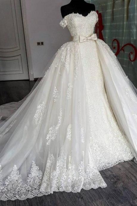 Off the Shoulder Wedding Dresses, Lace Wedding Dresses, Sweetheart Wedding Dresses, Wedding Dresses with Detachable Train, Vintage Wedding Dresses, New Arrival Wedding Dresses, Lace Wedding Dresses, Beaded Wedding Dresses, Bridal Dresses with Detachable Train, Luxury Wedding Dresses, 2017 Bridal Dresses Court Train, Wedding Dresses with Bow Belt