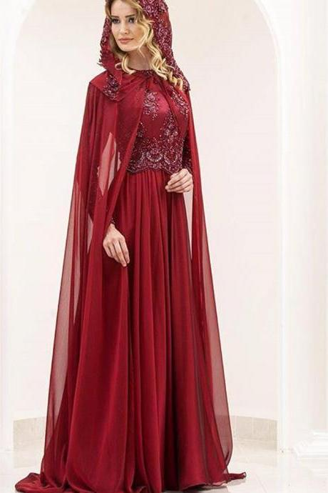 Arabic Prom Dresses, Lace Prom Dresses, Red Prom Dresses, Chiffon Prom Dresses, 2017 Prom Dresses, Fashion Prom Dresses, A Line Prom Dresses, Burgundy Prom Dresses, Lace Appliques Prom Dresses, New Arrival Prom Dresses, Arabic Prom Dresses, Custom Make Prom Dresses, 2017 Long Evening Gowns, Evening Dresses with Jacket, Custom Make Evening Dress, Wine Red Special Occasion Dresses