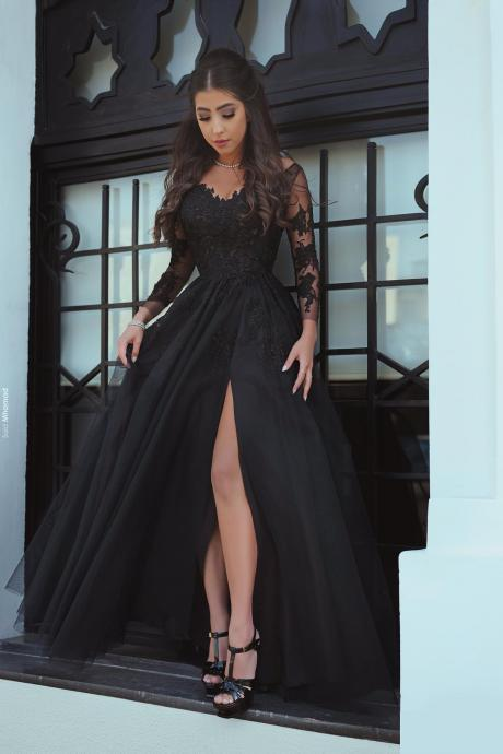 Black Prom Dresses, Lace Prom Dresses, Chiffon Prom Dresses, Side Slit Prom Dresses, 2017 Prom Dresses, Lace Prom Dresses, Long Prom Dresses, Long Evening Dresses, Arabic Prom Dresses, Chiffon Evening Dresses, Side Slit Evening Dress, Sexy Evening Dresses, Cheap Formal Dresses, New Arrival Evening Gowns,High Split Evening Dresses, Black Evening Gowns, 2017 Sexy Special Occasion Dresses