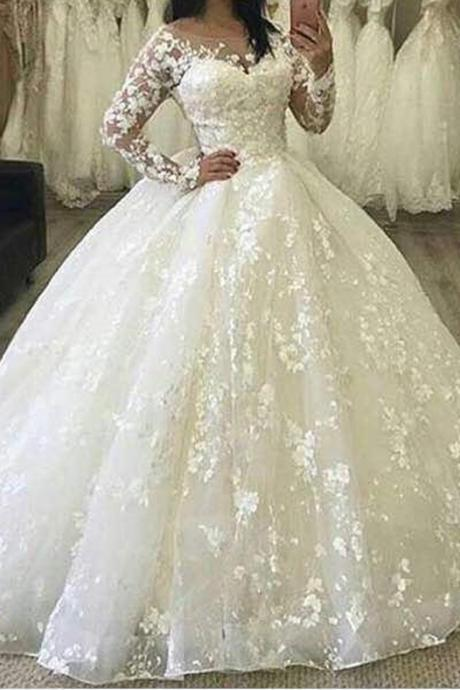 Ball Gown Wedding Dresses, Lace Wedding Dresses, Puffy Wedding Dress, Ball Gown Bridal Dresses, Long Sleeve Bridal Dresses, Sheer Wedding Dresses, Arabic Wedding Dresses, luxury Wedding Dresses, Fashion Wedding Dresses, Vintage Bridal Dresses, Hand Made Flowers Bridal Dresses, Sexy Bridal Dress, Long Sleeve Wedding Dresses