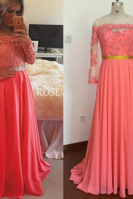Real Picture Evening Dresses, Coral Prom Dresses, Lace Prom Dresses, Long Sleeve Prom Dresses, Elegant Prom Dresses, Chiffon Prom Dresses, Cheap Prom Dresses, Real Photos Evening Dresses, Actual Image Prom Dress, Long Evening Dresses, Chiffon Evening Dress, Cheap Formal Dresses, Chiffon Women Party Dresses