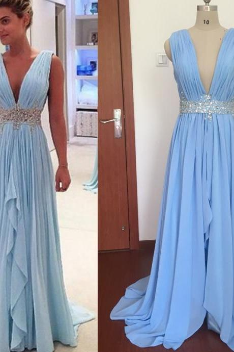 Real Photos Prom Dresses, Chiffon Prom Dresses, Blue Evening Dresses, Crystal Prom Dresses, Sky Blue Prom Dresses, Deep V Neck Prom Dresses, Pleats Prom Dresses, Chiffon Evening Gowns, Sexy Party Dresses, 2017 Special Occasion Dresses,Floor Length Long Evening Dresses, Sexy Prom Dresses, Real Picture Evening Dresses, Arabic Evening Dresses, Blue Party Dresses, 2017 Summer Formal Dresses