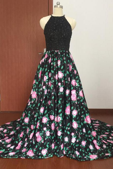 Halter Beaded Floral Print A-line Long Prom Dress, Evening Dress with Court Train