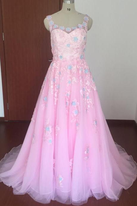 Real Picture Prom Dresses, Pink Prom Dresses, Pink Organza Prom Dresses, Lace Prom Dresses, Hand Made Flowers Prom Dresses, A Line Prom Dresses, Tulle Prom Dresses,Sexy Prom Dresses, Arabic Prom Dresses, Cheap Prom Dresses, Fashion Prom Dresses, Arabic Prom Dresses, 2017 Prom Dresses, Vestidos de Fiesta 2017, Court Train Evening Dresses, Sexy Evening Gowns, Long Evening Dresses Organza
