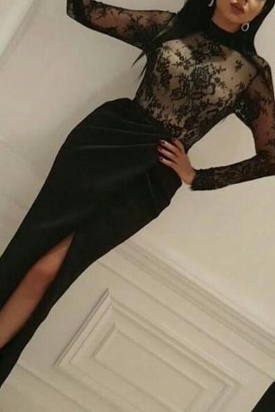 High Neck Evening Dress, Black Evening Dress, Evening Dresses 2018, Arabic Style Evening Dress, Lace Evening Dress, Long Sleeve Evening Dress, Elegant Evening Dress, Mermaid Evening Dress, Women Formal Dresses