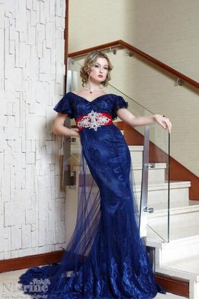 Navy Blue Evening Dress, Saudi Arabic Evening Dress, Lace Applique Evening Dress, Cap Sleeve Evening Dress, Long Evening Dress, V Neck Evening Dress, A Line Evening Dress, Formal Dresses 2018, Vesido De Festa, Elegant Evening Dress