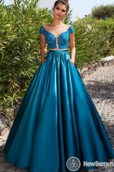 2 Piece Prom Dress, Short Sleeve Prom Dress, Satin Prom Dress, Turquoise Blue Prom Dress, A Line Prom Dress, Prom Dresses 2018, Elegant Prom Dress, Long Prom Dress, Prom Dresses for Women