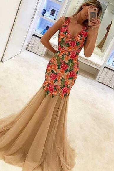 Embroidery Lace Evening Dress, Mermaid Evening Dress, Champagne Evening Dress, Elegant Evening Dress, Modest Evening Dress, V Neck Evening Dress, Formal Dresses 2018, Sleeveless Evening Dress