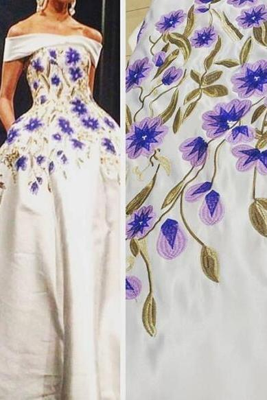 Off Shoulder Prom Dress, Embroidery Lace Prom Dress, A Line Prom Dress, Satin Prom Dress, Elegant Prom Dress, Cheap Graduation Dresses, Floor Length Prom Dress, Prom Dresses 2018, Vestido De Festa