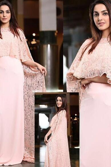 Pink Evening Dress, Dubai Kaftan, Muslim Kaftan, Lace Evening Dress, Saudi Arabic Evening Dress, Chiffon Evening Dress, Women Formal Dress, Elegant Evening Dress, Gorgeous Evening Dress