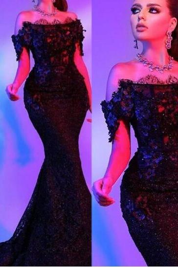Sparkly Evening Dress, Black Evening Dress, Mermaid Evening Dress, Sequined Lace Evening Dress, Off the Shoulder Evening Dress, Evening Dresses Long, Women Formal Dress, Elegant Evening Dress, Cheap Evening Dress, Luxury Evening Dress, Arabic Evening Gown