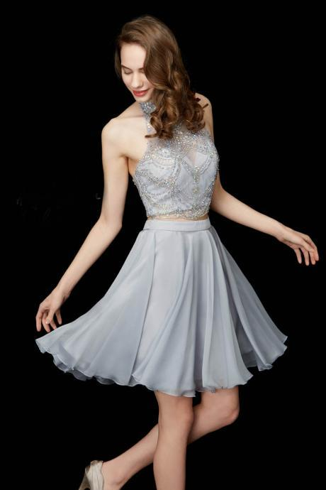Halter Homecoming Dresses, High Neck Homecoming Dresses, Two Pieces Homecoming Dresses, Crystal Homecoming Dresses, Chiffon Homecoming Dresses, Sliver Homecoming Dresses, Two Pieces Prom Dresses, Beading Cocktail Dresses, A-Line Prom Dresses, Cheap Graduation Dresses, 2017 Homecoming Dresses, Short Homecoming Dresses