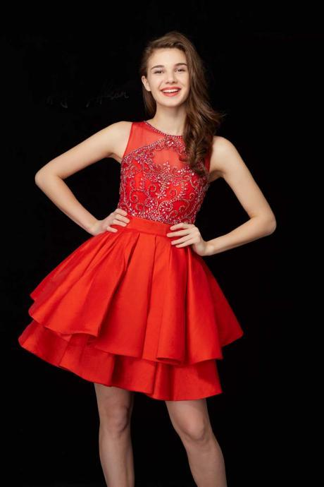 Red Homecoming Dresses,Crystal Homecoming Dresses, Fashion Formal Dresses, Beading Homecoming Dresses, Satin Homecoming Dresses, Short Prom Dresses, 2017 Prom Dresses Mini,Red Homecoming Dress,Short Cocktail Dresses, Custom Make Homecoming Dresses
