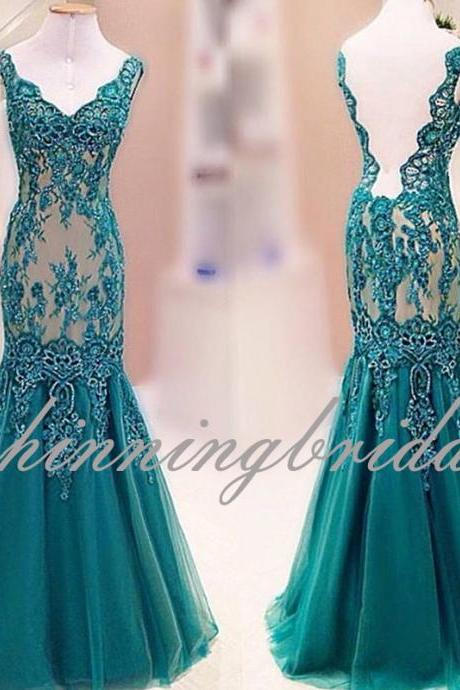 Green Prom Dresses, Lace Prom Dresses, Deep V Neck Prom Dresses, Mermaid Prom Dresses, Backless Prom Dresses, Green Evening Dresses, 2017 Formal Dresses, Tulle Prom Dresses, Custom Make Evening Gowns, 2017 Tulle Special Occasion Dresses, Backless Evening Gowns, Long Prom Dresses