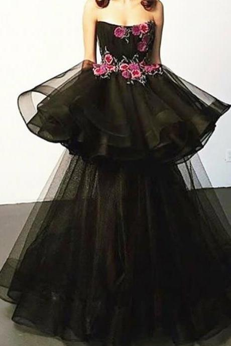 A Line Prom Dresses, Black Prom Dresses, Strapless Neckline Prom Dresses, Embroidery Prom Dresses, A Line Evening Dresses, Black Evening Gowns, Long Evening Dress, Tiered Prom Dresses, Tulle Prom Dresses, 2018 Prom Dresses, Arabic Prom Dresses, Long Prom Dresses, Cheap Evening Dress