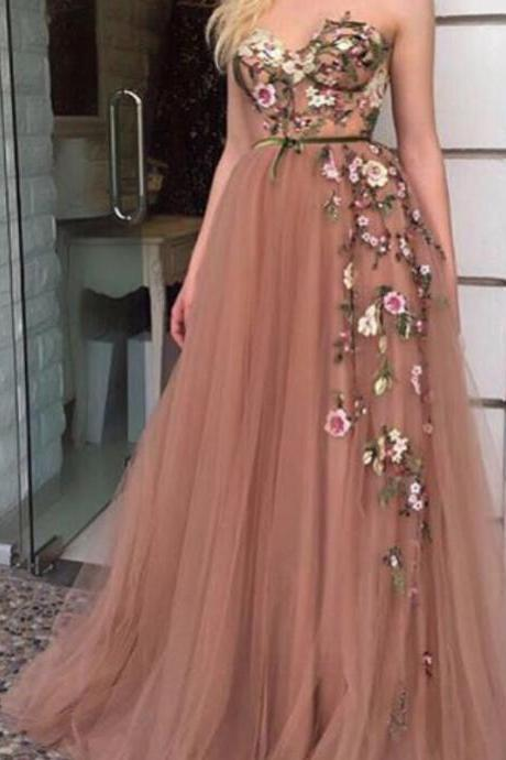 Custom Make Prom Dresses, Hand Made Flowers Prom Dresses, Sweetheart Prom Dresses, Belt Prom Dresses, Cheap Evening Gowns, Tulle Party Dresses, Embroidery Prom Dresses, A Line Evening Dresses, 2018 Tulle Party Dresses, Special Occasion Dresses
