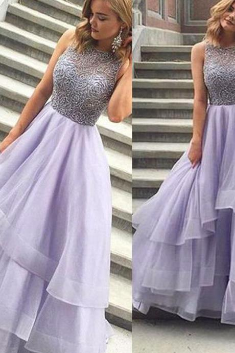 prom dresses with beading, 2018 prom dresses, lavander prom dresses, beading bodice evening gowns, ball gown prom dresses, tulle prom dresses, beading formal dresses, custom make evening gowns, newest party dresses, sexy sheer evening dresses, long ruffle party dresses