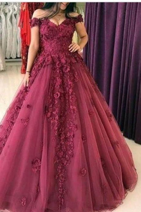 burgundy prom dresses, ball gown prom dresses, tulle prom dresses, lace prom dress, hand made flower prom dress, cheap prom dresses, arabic prom dresses, sexy prom dresses, elegant prom dress, beautiful prom dresses, v neck prom dress, off the shoulder prom dress
