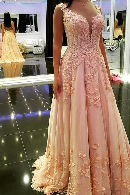 Blush Pink Prom Dress, Deep V Neck Prom Dress, Lace Applique Prom Dress, Prom Dresses 2018, A Line Prom Dress, Elegant Prom Dress, Cheap Prom Dress, Vestido De Festa