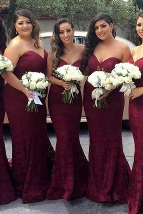Burgundy Strapless Sweetheart Neckline Lace Mermaid Bridesmaid Dress