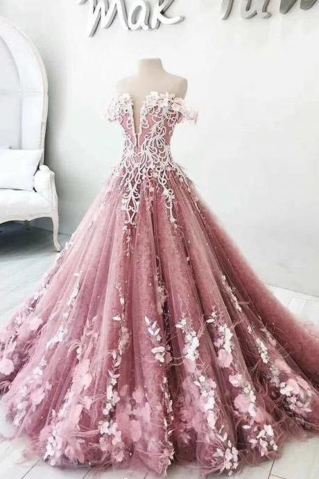 ball gown prom dresses, off the shoulder prom dresses, hand made flowers prom dresses, 3d flowers prom dresses, real picture prom dresses, luxury prom dresses, court train prom dresses, lace prom dresses, pink evening dresses, 2018 evening gowns, long evening dresses