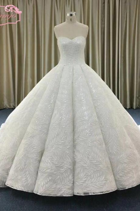 ball gown wedding dresses, puffy wedding dress, 2018 sweetheart bridal dresses, luxury wedding dresses, sweetheart bridal dresses, backless wedding gowns, court trian wedding dresses, lace bridal dresses, sequins wedding dress, vintage wedding dress