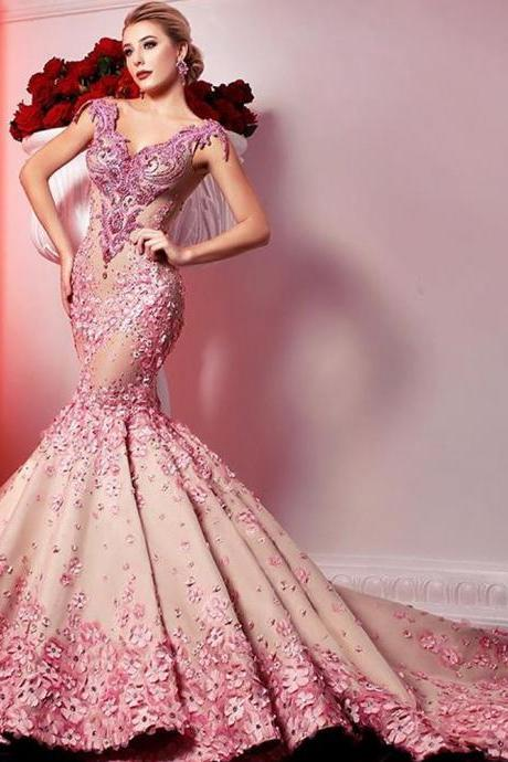mermaid prom dresses, 2018 prom dresses, lace prom dress, hand made fower prom dresses, v neck prom dresses, sexy prom dresses, pink prom dresses, crystal prom dresses, vintage evening dresses, 2018 evening gowns, new arrival evening dress, custom make evening dresses