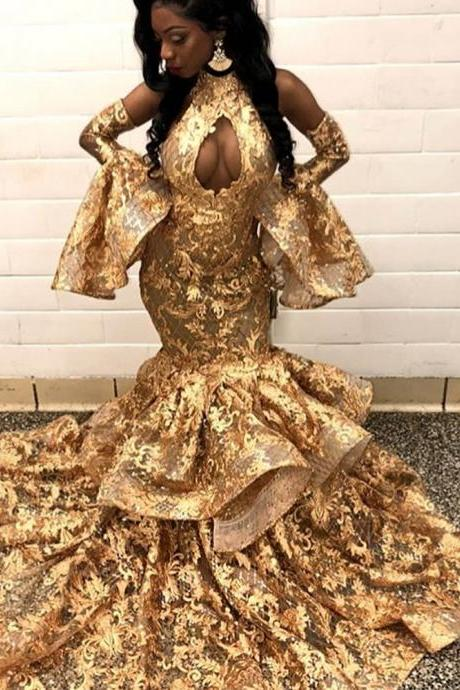 gold prom dresses, ruffle prom dresses, mermaid prom dresses, keyhole prom dresses, lace prom dresses, floor length prom dress, fishtail prom dresses, new arribal prom dress, arabic prom dresses , lace evening dresses, mermaid evening dresses