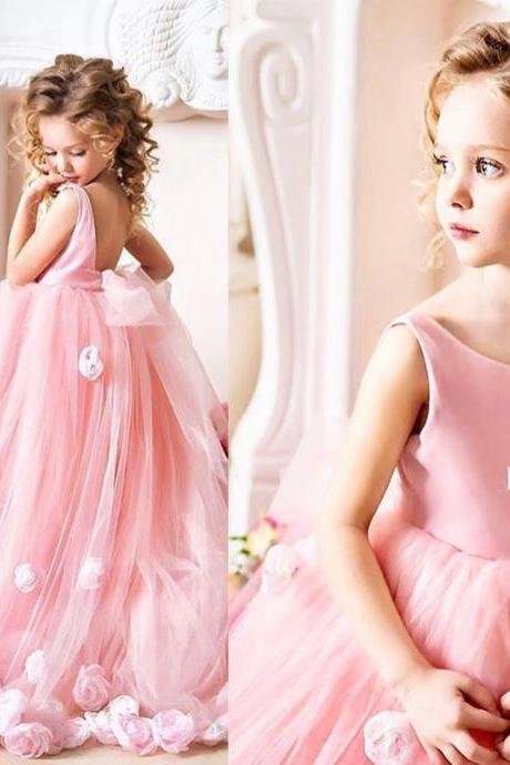 pink flower girls' dresses, hand made flowers girls party dresses, tulle girls pageant dresses, flowers girls party dresses, soft tulle girls wedding dresses, little girls' wedding dress, cheap flower girls dresses, 2018 little girls dresses, sexy girls party dresses