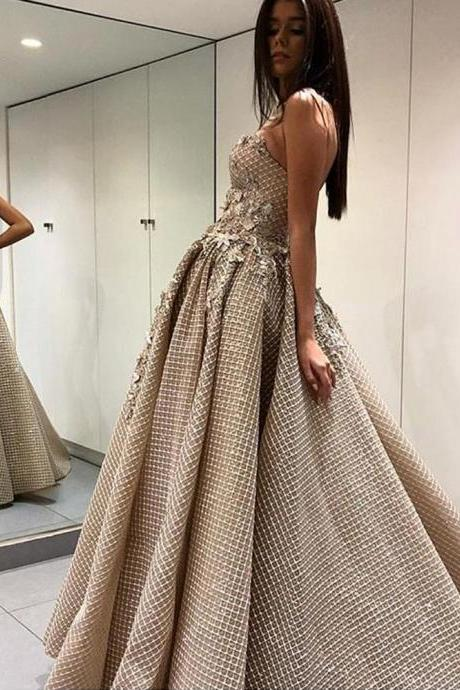 Champagne Prom Dresses, Ball Gown Prom Dresses, Lace Prom Dresses, Arabic Prom Dresses, Sweetheart Prom Dresses, Lace Appliques Prom Dresses, 2018 Prom Dresses, Vestidos de Fiesta, New Arrival Prom Dress, Formal Dresses with Sequins