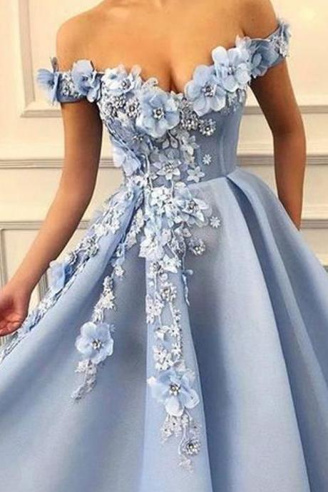 Blue Prom Dresses, Hand Made Flowers Prom Dresses, V Neck Prom Dresses, Organza Prom Dresses, Beaded Prom Dresses, Elegant Prom Dresses , Arabic Prom Dresses, 2019 Prom Dresses, New Arrival Prom Dresses
