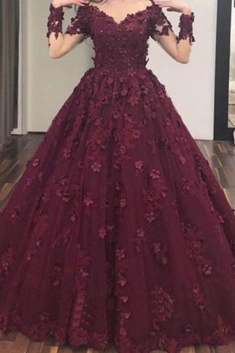 Wine Red Prom Dresses, Sweetheart Prom Dresses, Lace Prom Dresses, Flowers Prom Dresses, Burgundy Evening Dresses, Long Sleeve Prom Dresses, V Neck Evening Dresses, Sheer Party Dresses, Ball Gown Evening Gowns